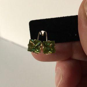 14K Gold Peridot Leverback Earrings